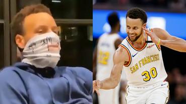 極致防疫!Curry 戴上自製「防疫面罩」示範如何喝紅酒,一旁的妻子與小孩當場看傻眼!