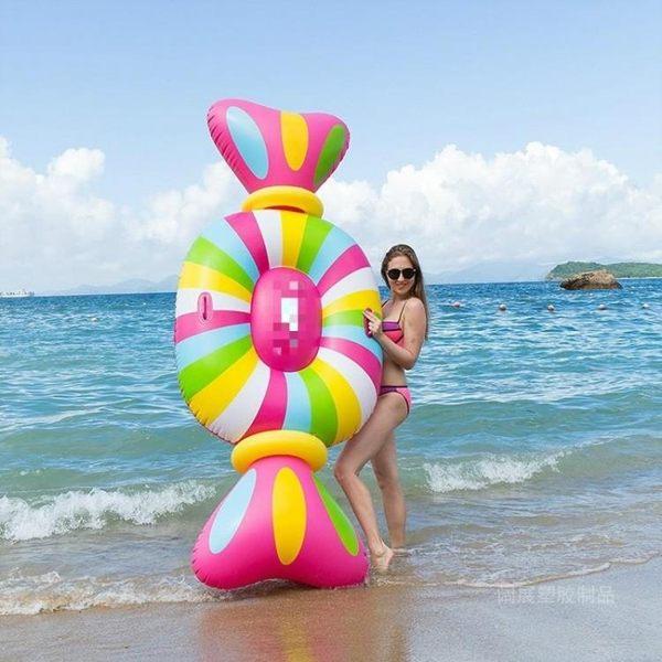 環保加厚PVC水上充氣浮床新款大號糖果浮排躺椅糖果游泳圈MKS摩可美家