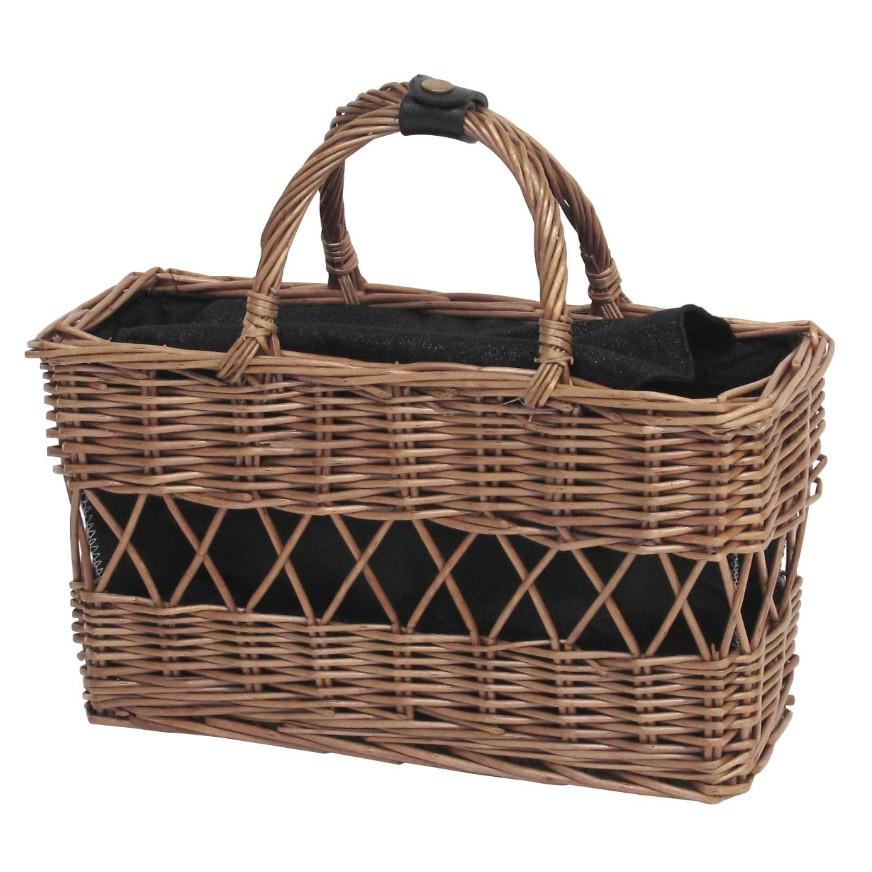 《齊洛瓦鄉村風雜貨》日本zakka 柳樹編織手提包 長方形手提藤編包 柳樹藤編包日系時尚編織包 黑色