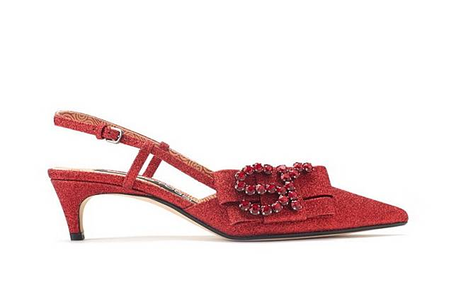 Sergio Rossi紅色水晶SR標誌露踭鞋(互聯網)