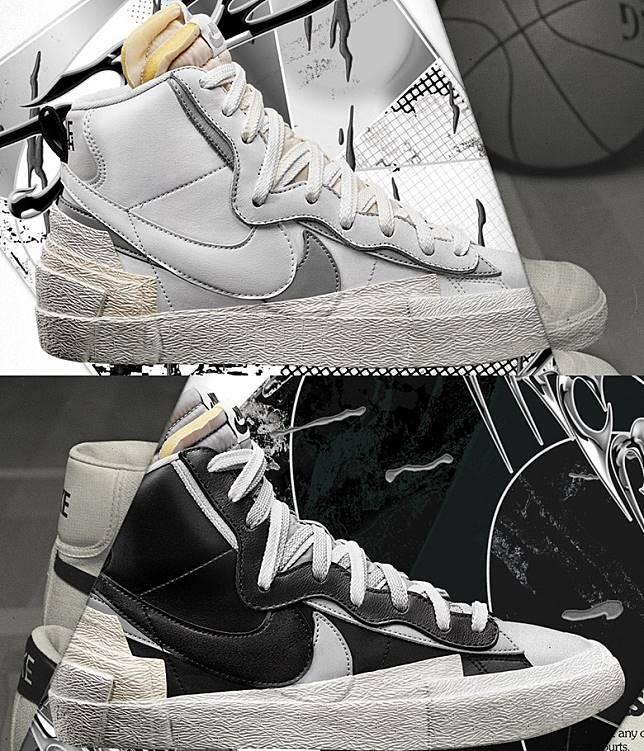 sacai x Nike Blazer Mid則有兩色同步登場。(互聯網)