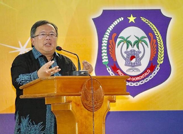 Menteri PPN/Kepala Bappenas Bambang Brodjonegoro dalam acara Musyawarah Perencanaan Pembangunan (Musrenbangprov) Provinsi Gorontalo, Senin, 1 April 2019.
