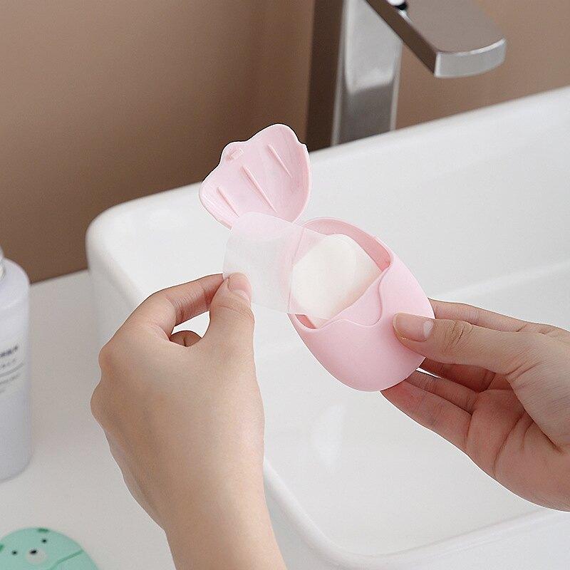 一次性洗手紙 防疫必備 攜帶式肥皂紙 旅行迷你便攜式香皂片盒裝一次性肥皂片50片裝戶外洗手清潔片學生『xy2016』
