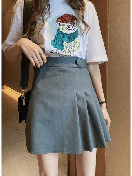 夏季新款韓版氣質高腰顯瘦半身裙女a字裙黑色百褶裙包臀短裙子潮