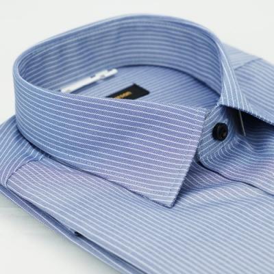 金‧安德森 深藍底白條紋黑釦窄版短袖襯衫fast