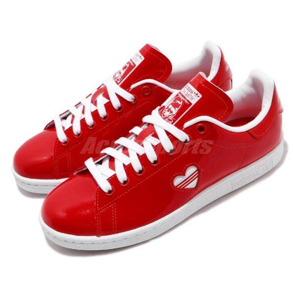 adidas 休閒鞋 Stan Smith W 紅 白 情人節 皮革 基本款 小愛心 百搭熱銷款 女鞋【PUMP306】 G28136