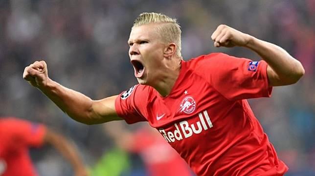Penyerang RB Salzburg, Erling Haaland. [JOE KLAMAR / AFP]