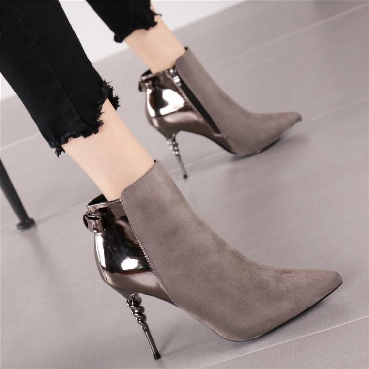 時尚絨面拼接短靴馬丁靴冬季新款OL漆皮尖頭細跟高跟鞋