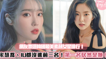 網友票選韓國「最美素顏」女星排行~宋慧喬、IU都沒進前三名!第一名居然是她!