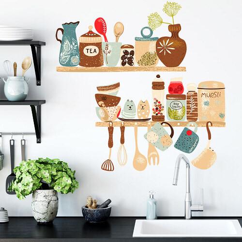 壁貼-廚房餐具壁貼 包裝尺吋25*70cm*2張 數量 :2入裝 編號 :e0065 材質pvc半透明 可隨意黏貼磁磚玻璃牆壁 家具光滑表面的材質 使用參考 另底部膠與墙壁的黏性结合會越来越強 黏貼時