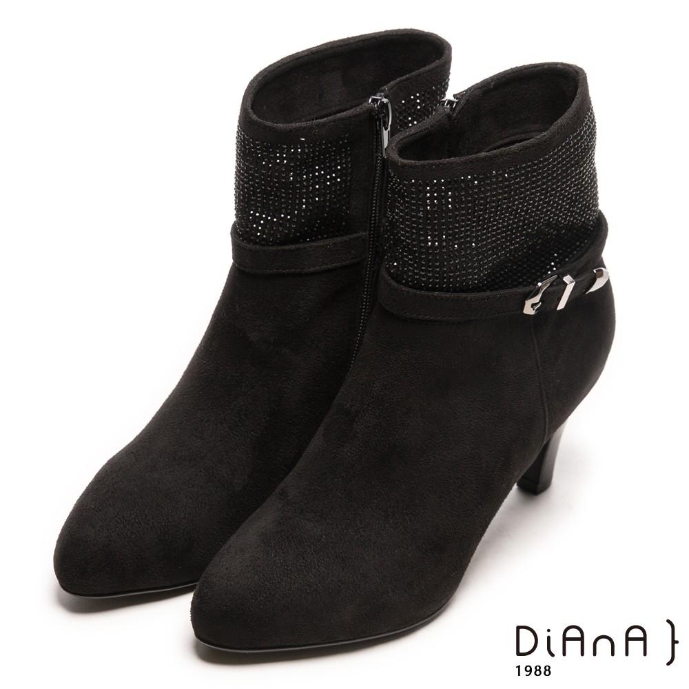DIANA 妝點奢華--隱隱低調耀眼星空排鑽跟靴-黑7907-96