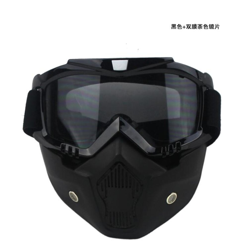 振興 防風面罩 摩托車防風護目鏡復古哈雷機車越野風鏡四分之三頭盔帶面具 中秋節禮物