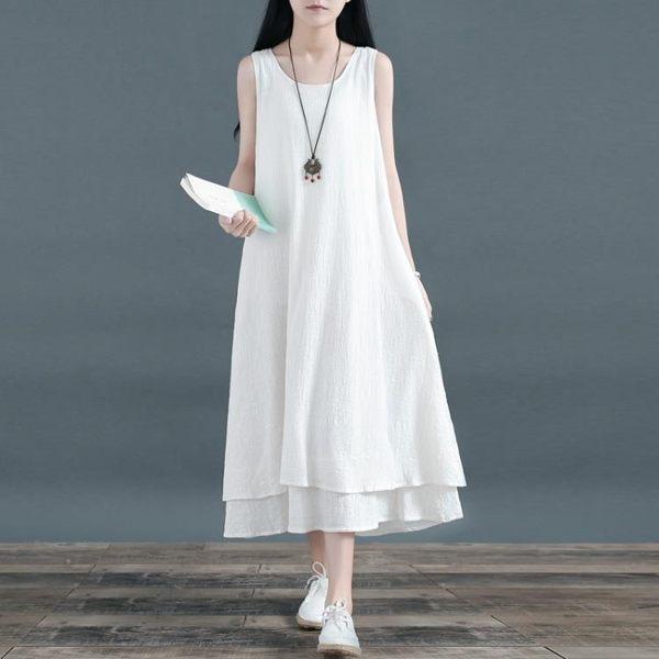 棉麻洋裝 無袖雙層裙子大擺裙亞麻長款打底連身裙范背心長裙 糖果時尚