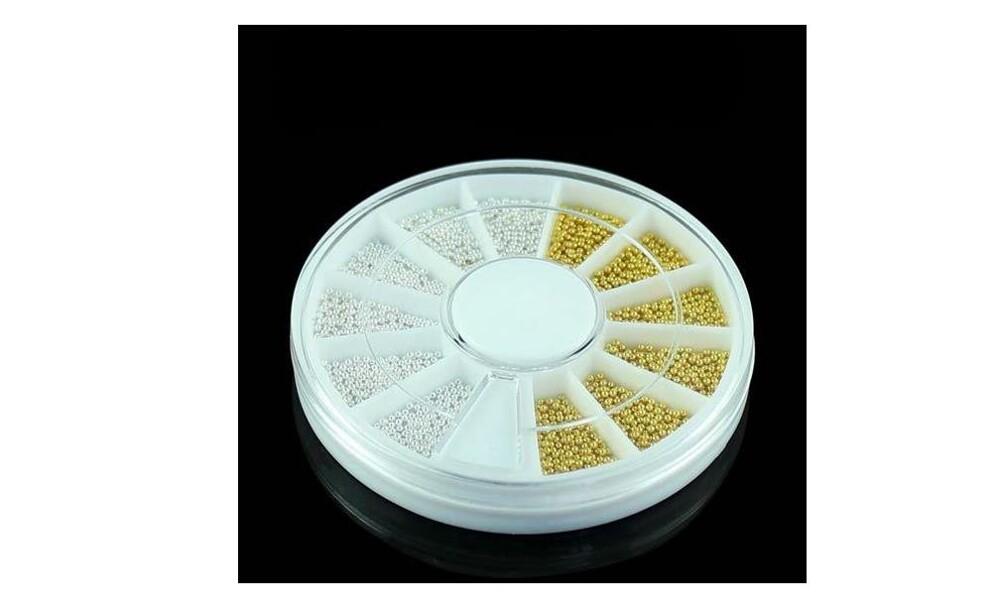 全館現貨供應可直接下單 品名:金+銀珠珠-各半-12格圓盤45 使用在(1)指甲油(2)凝膠(3)水晶等~做使用
