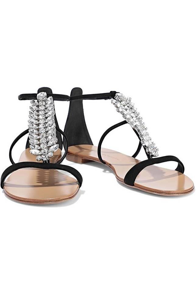 Giuseppe Zanotti魚骨形水晶裝飾平底涼鞋(互聯網)