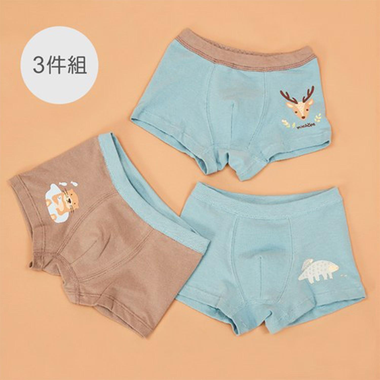 minihope美好的親子生活 - 保育動物男童四角褲組-水鹿、水獺、穿山甲