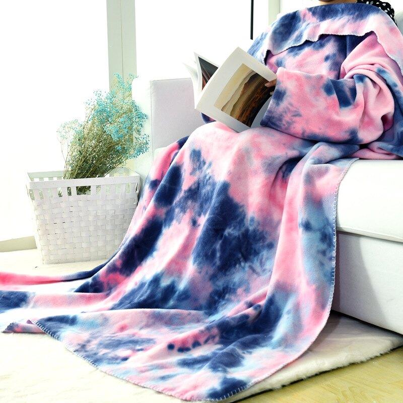 電視懶人毯披肩空調毯 居家沙發電視休閑蓋毯保暖袖毯 扎染TV毛毯【聖誕禮物】