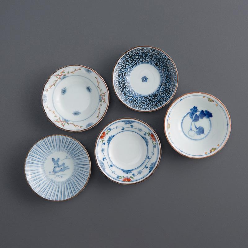 染錦花繪 五件式小菜碟