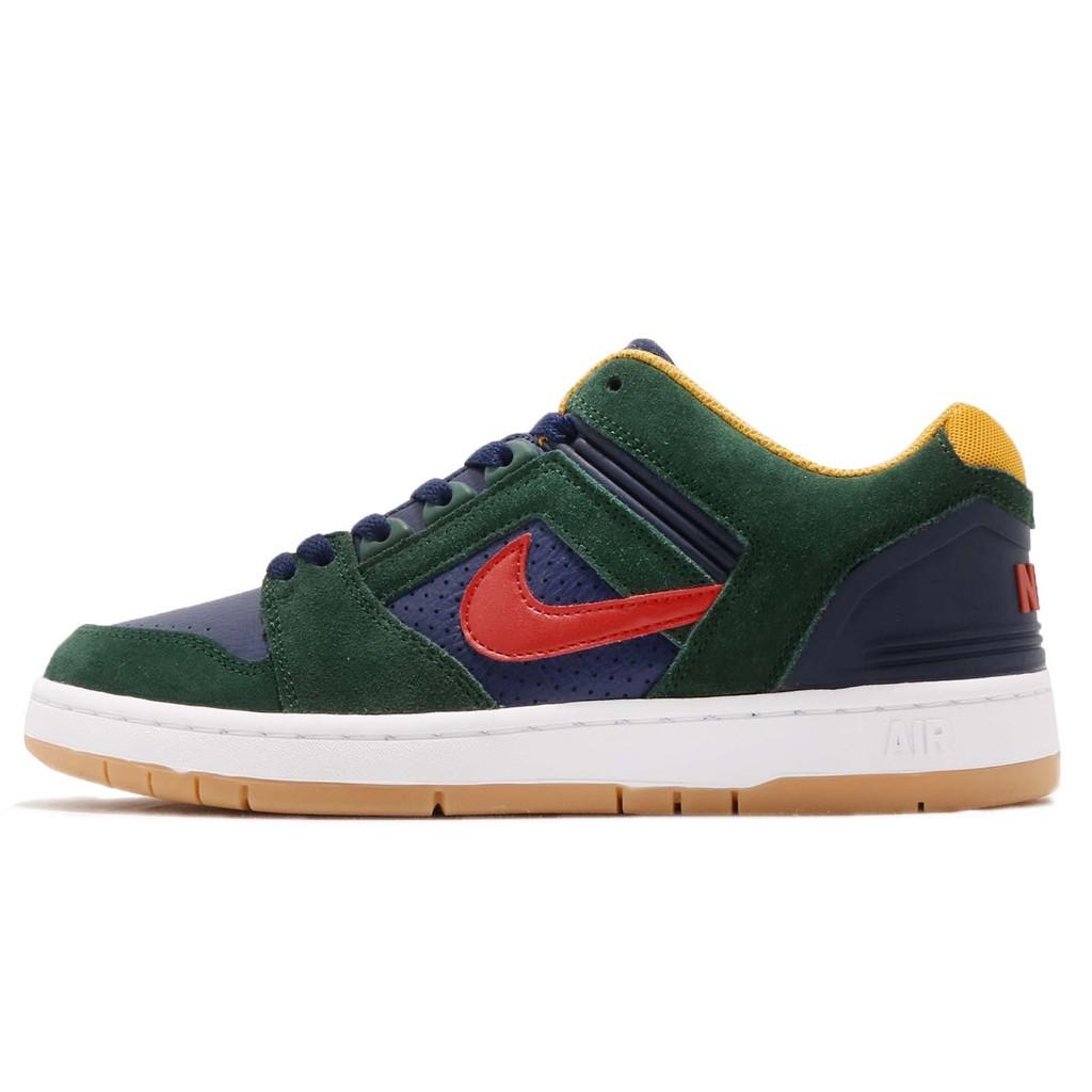 Nike 滑板鞋 SB Air Force II Low 綠 藍 麂皮 運動鞋 男鞋 AO0300-364 【ACS】