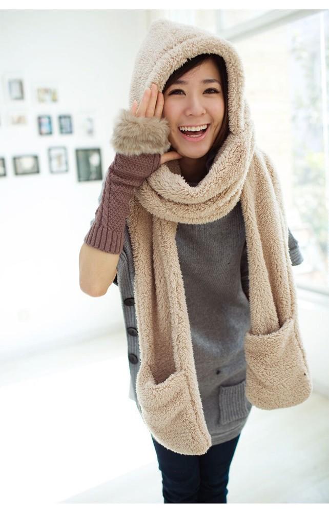 日韓新款 羊羔絨連帽防寒毛絨加厚情侶圍脖圍巾帽子手套一體