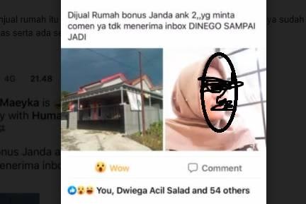 Postingan Eka di media sosial jual rumah dapat janda dua anak viral dan menggegerkan warga Kobar. (Foto: iNews/Sigit Dzakwan)