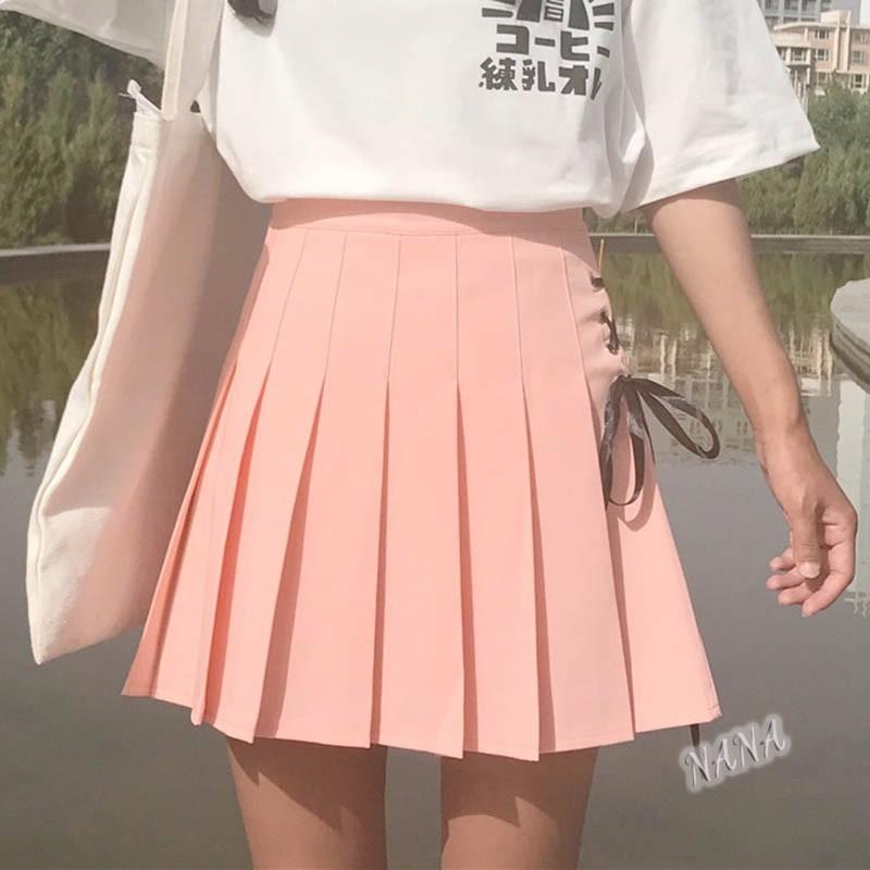 【3件折30】MYJ實拍韓系甜美百摺裙高腰顯瘦百褶裙純色網球裙高腰裙短裙綁帶A字裙子
