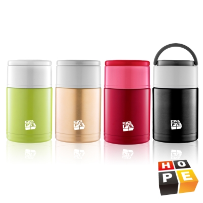 HOPE歐普 316不鏽鋼可提式真空保溫食物罐800ML(4色可選)