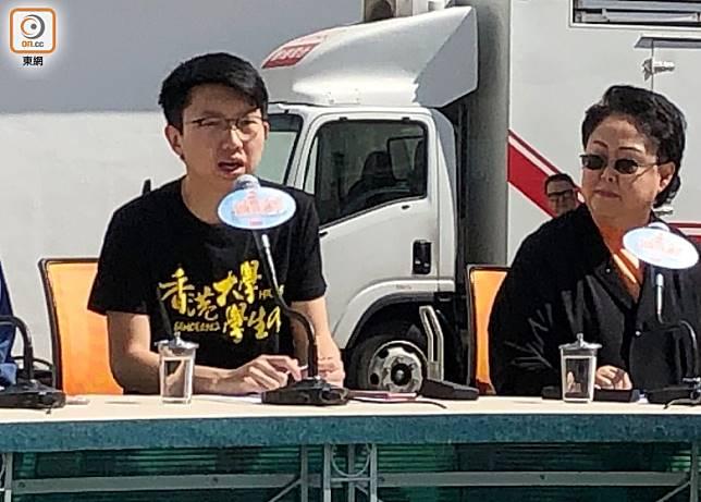 張崑陽(左)批評楊潤雄將平息校園衝突的責任推給各大學校長。(陳亦瀅攝)