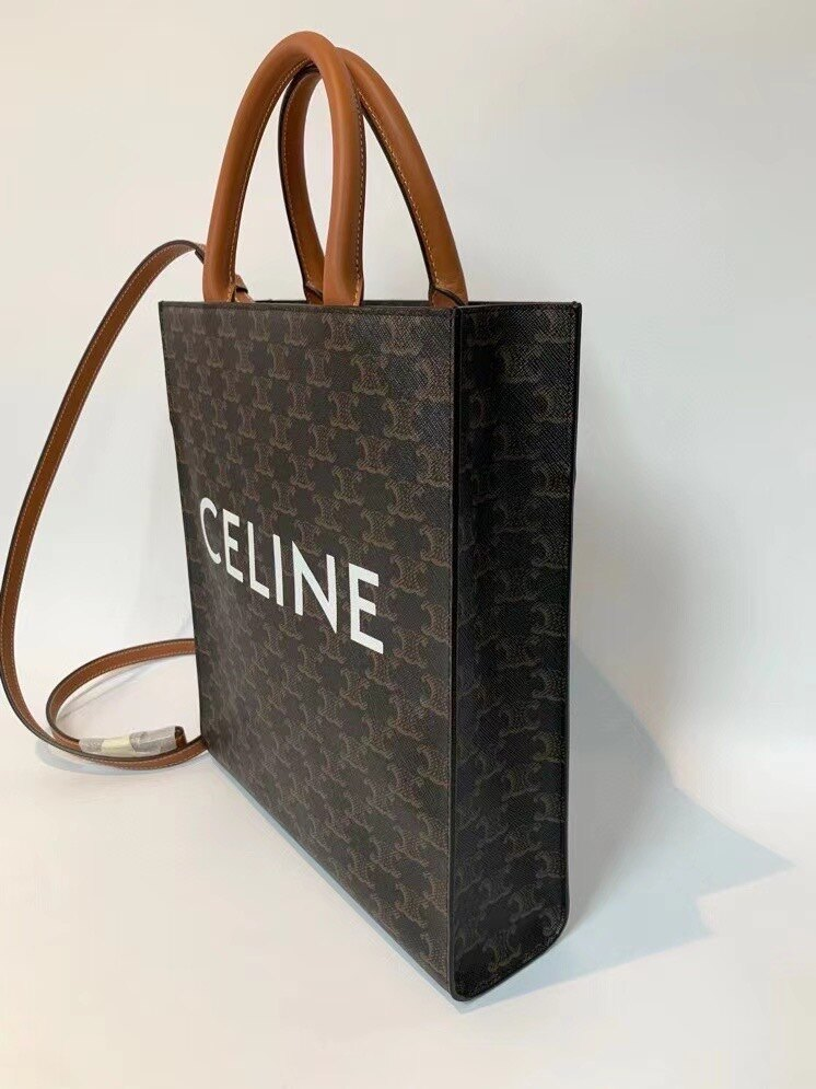【Go時尚】Celine 191542 TRIOMPHE 帆布 小型 直式 CABAS 購物袋 手提包