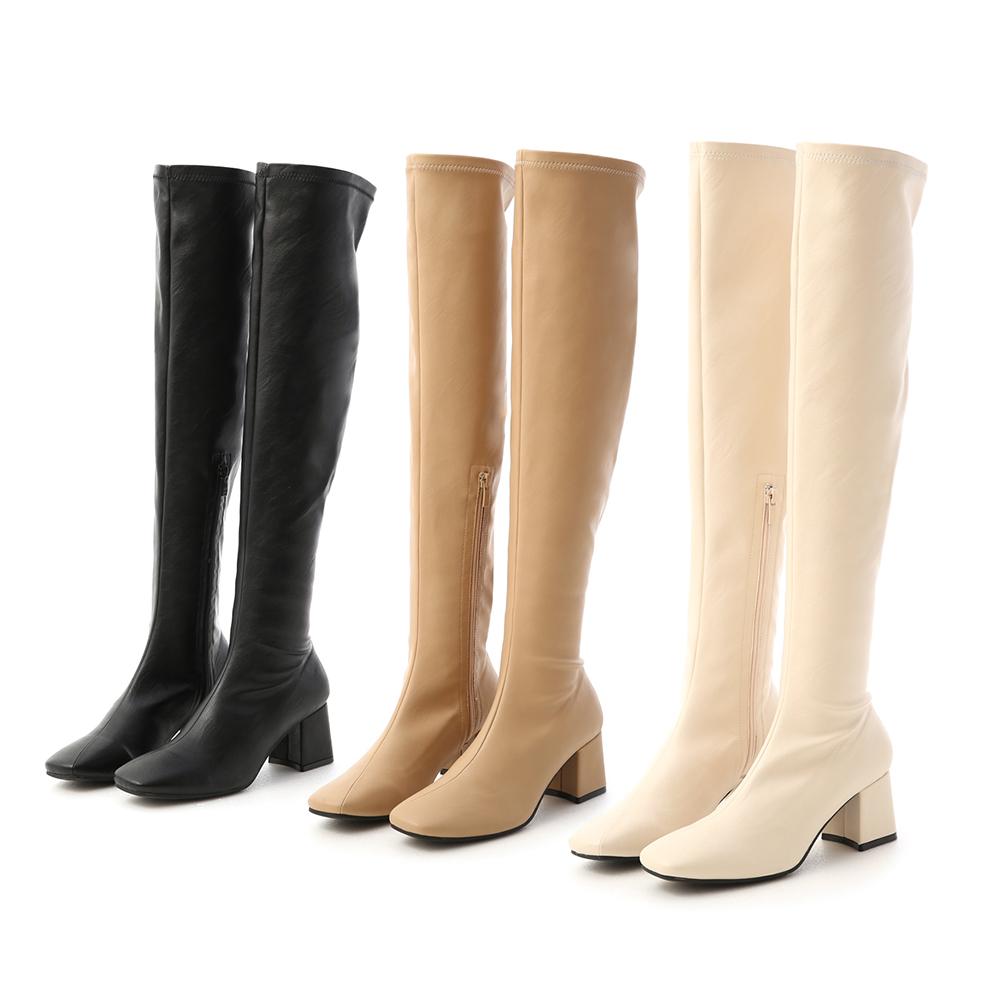 D+AF素面斜線方頭膝上長靴 膝上靴