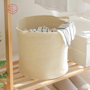 【日本霜山】亞麻風棉線編織圓形洗衣收納籃-附手把單一規格