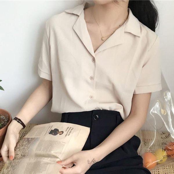 2019春夏季新款韓版氣質雪紡短袖襯衫寬鬆上衣襯衣學生女裝打底衫
