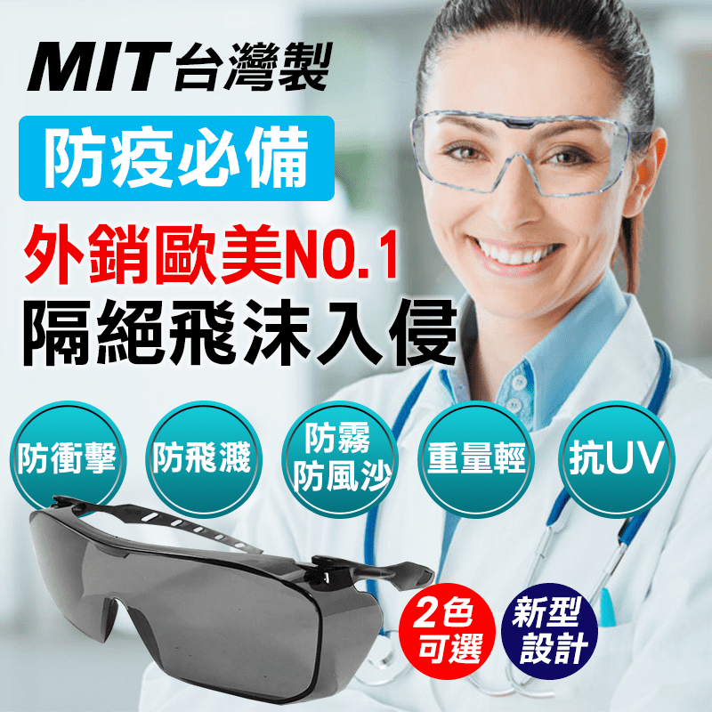MIT強化防疫安全護目鏡OTG 1,有效防水抗衝擊,可隔擋唾液飛沫!並且具有抗UV400防護,避免強光、保護眼睛,防止有害紫外線傷害,加上防霧系統設計,裡面佩戴有度數的眼鏡,也可防止起霧而造成視線不良