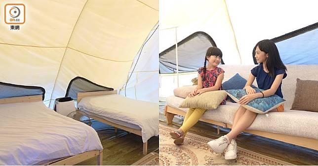 帆船營屬面積最大的一款營地,置放了兩張5呎雙人床,配合雙人梳化床,足夠6個人居住。(胡振文攝)