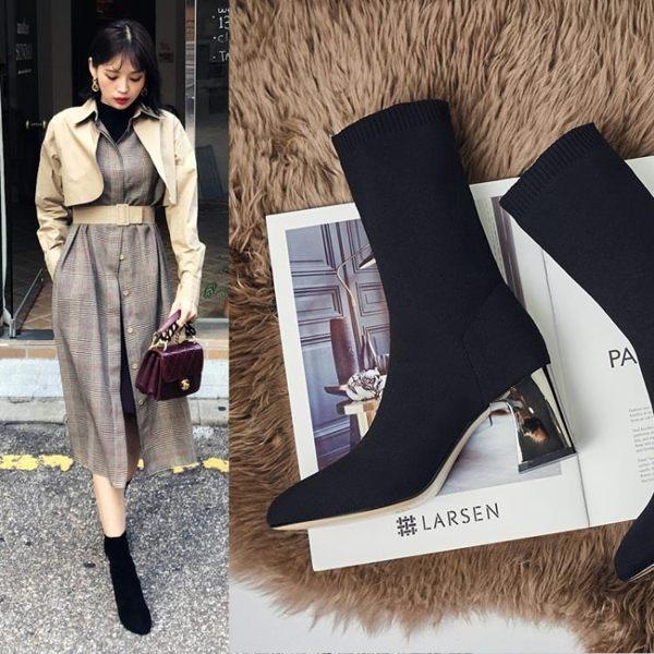 618年㊥大促 短靴女粗跟春秋2019新款網紅靴瘦瘦靴小短靴小跟襪子靴彈力靴襪靴