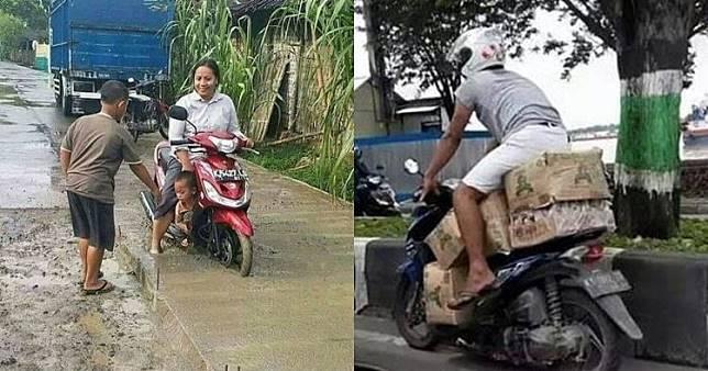 20 Tingkah lucu pengendara motor, Indonesia banget