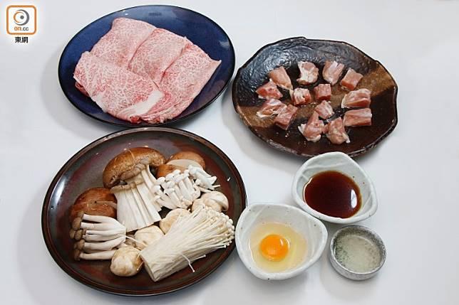 與中式火鍋一樣,食材配搭很隨意,不過通常都有雜菌、和牛及雞肉。 (郭凱敏攝)