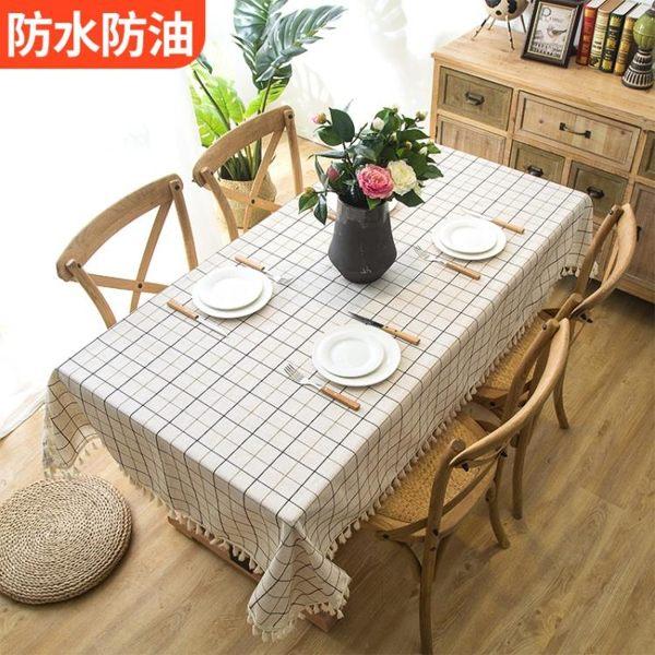 桌布防水防燙防油免洗網紅布藝棉麻小清新家用長方形墊茶幾餐桌布