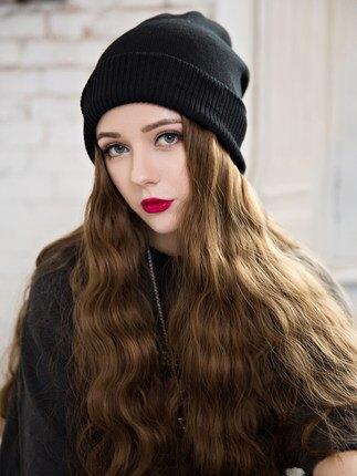 長假髮 毛線帽子帶假髮一體女秋冬天款長髮水波紋網紅時尚長卷髮全頭套式