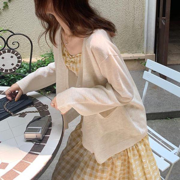 針織外套TAKIYA定制 薄款防曬針織開衫早秋寬鬆冰絲外搭空調衫外套女 小天使