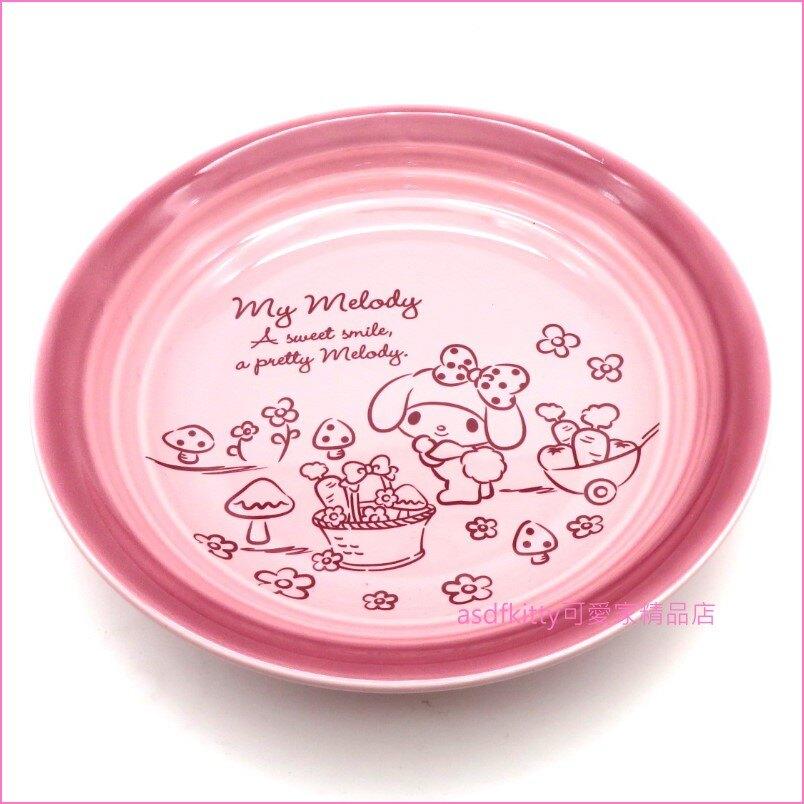 asdfkitty可愛家☆美樂蒂粉紅色圓型陶瓷深盤/湯盤/沙拉盤-可微波-香港正版商品