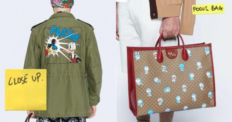 左:帶有些淘氣男孩氣息的唐老鴨,印在波卡外套上十分俏皮。右:將各種型態的多啦A夢搭配GG Supreme老花,可愛又不失復古感。(圖/品牌提供)