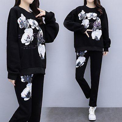 中大尺碼XL-5XL棉花糖秋裝新款胖妹妹印花衛衣兩件套運動套裝潮8203.4F096.1號公館
