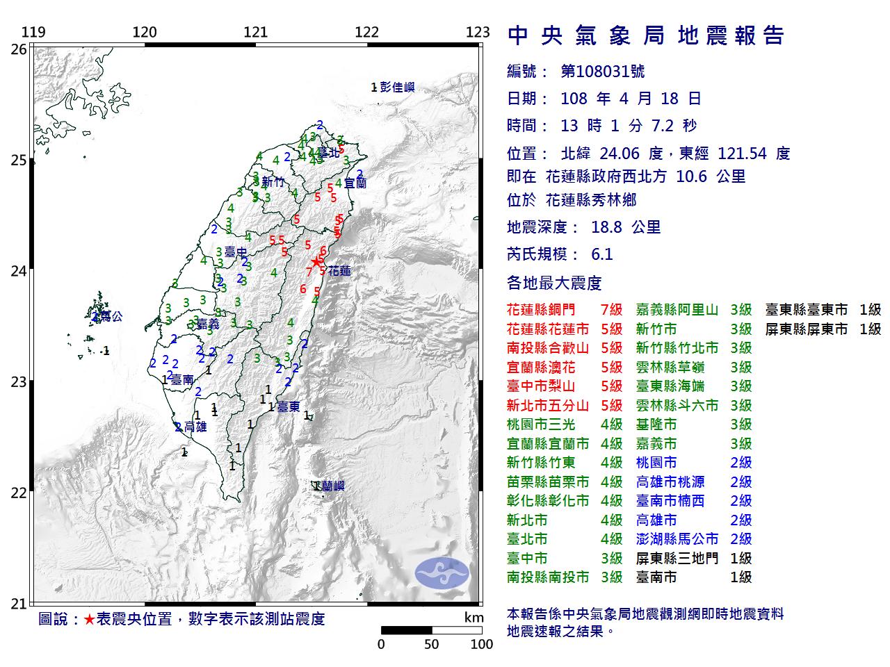 4 月 18 日下午 1 時在花蓮發生規模 6.1 地震,台北多處測站均測得最大 4 級震度。