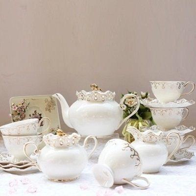 下午茶茶具組合含咖啡杯+茶壺-6人簡約創意歐式骨瓷茶具69g49【時尚巴黎】