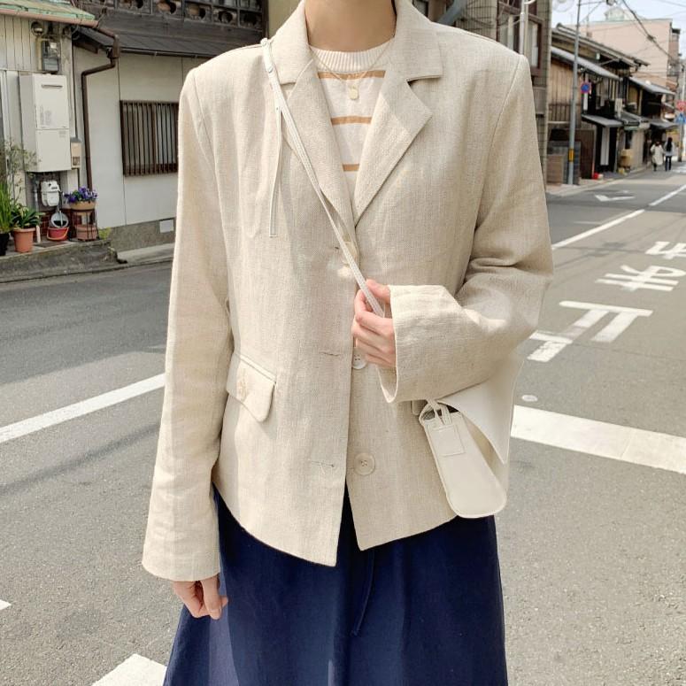 [現貨]GRASS 質感挺版棉麻外套 翻領外套 西裝外套 棉麻西裝外套 挺版外套 休閒外套 口袋外套 [D7758]