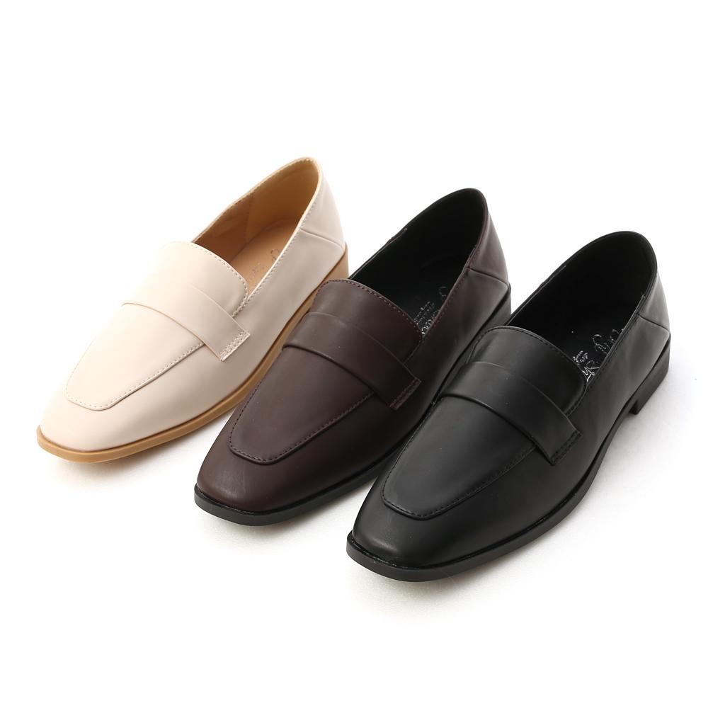 D+AF復古小方頭低跟樂福鞋 樂福鞋