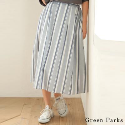 多色條紋喇叭裙 直條紋配色 營造清新風格 喇叭剪裁 修飾下身線條 搭配T恤 休閒舒適 (6A93L0L0230)
