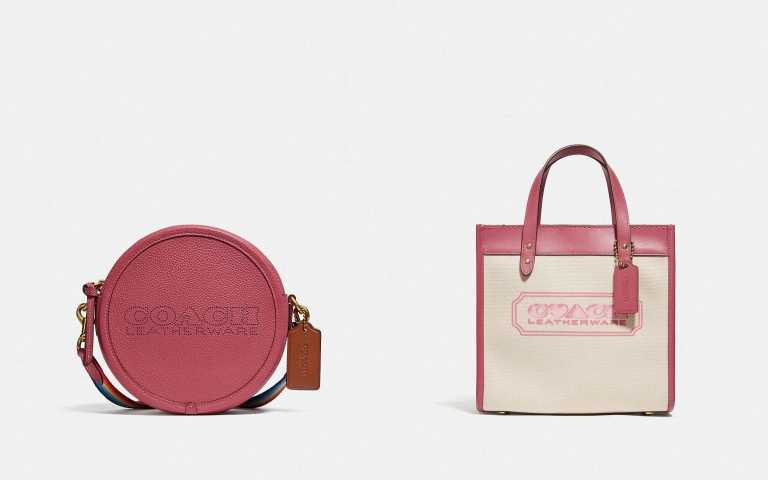 (左)輕巧迷人的KIA 撞色圓形手袋,有著四種不同顏色及寬敞的收納空間;亦或是選擇(右)柔嫩粉色調的托特包或Lunchbox手袋,作為七夕情人節的禮物選擇。(圖/品牌提供)