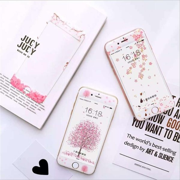 [24H 現貨] iphone 6 s plus 7 plus 櫻花樹 全屏玻璃膜 鋼化玻璃膜 螢幕貼 保護貼 鋼化膜 手機膜